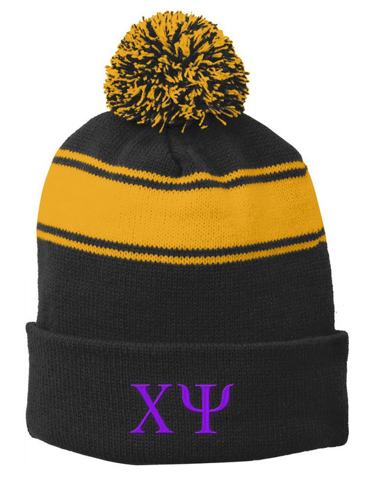 Chi Psi Embroidered Pom Pom Beanie