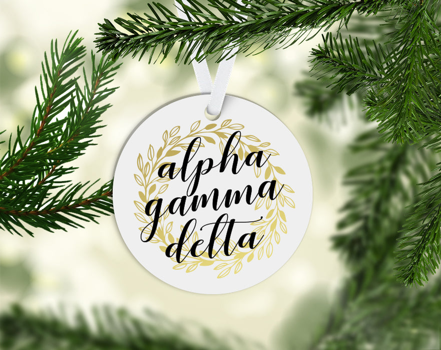 Alpha Gamma Delta Round Acrylic Gold Wreath Ornament