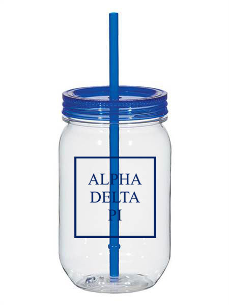 Alpha Delta Pi Box Stacked 25oz Mason Jar