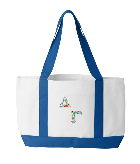 Delta Gamma 2-Tone Boat Tote with Sewn-On Letters