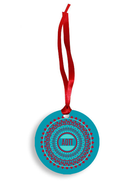Alpha Omicron Pi Blue and Red Circle Pattern Sunburst Ornament