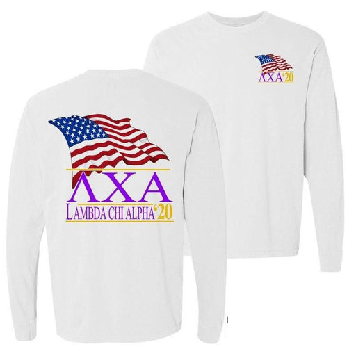 Lambda Chi Alpha Patriot Flag Comfort Colors Long Tee