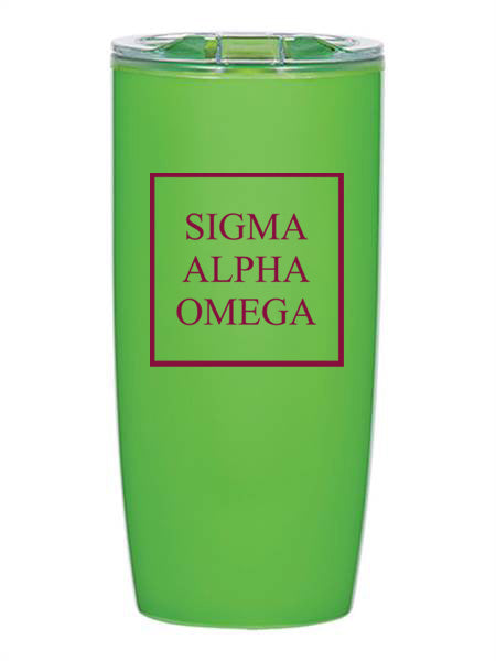 Sigma Alpha Omega Box Stacked 19 oz Everest Tumbler