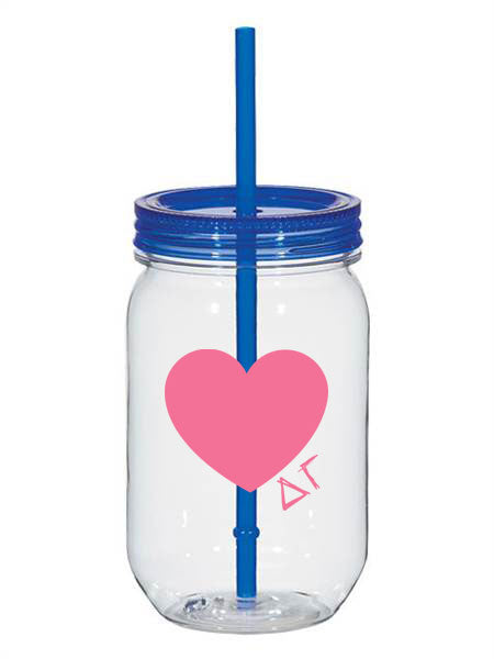 Delta Gmma 25oz Scribbled Heart Mason Jar