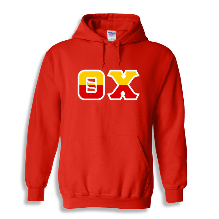Theta Chi Two Toned Lettered Hooded Sweatshirt