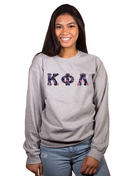 Kappa Phi Lambda Crewneck Sweatshirt with Sewn-On Letters