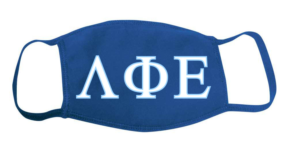 Lambda Phi Epsilon Face Mask With Big Greek Letters