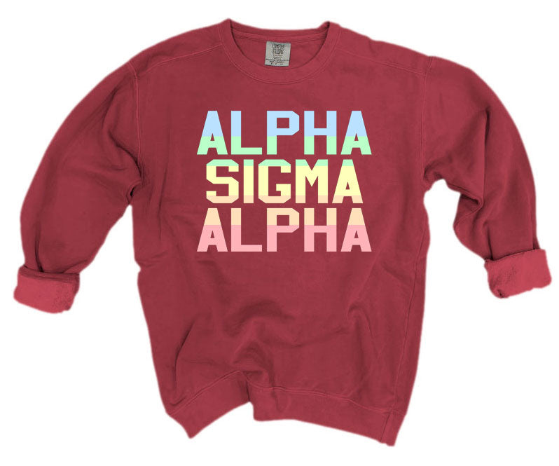 Alpha Sigma Alpha Comfort Colors Pastel Sorority Sweatshirt