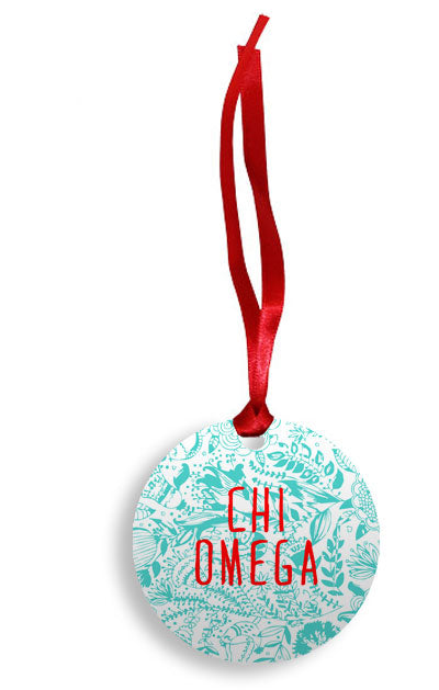 Chi Omega Floral Pattern Sunburst Ornament