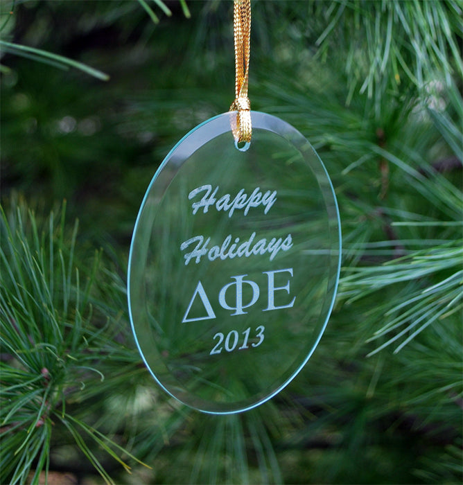 Delta Phi Epsilon Engraved Glass Ornament