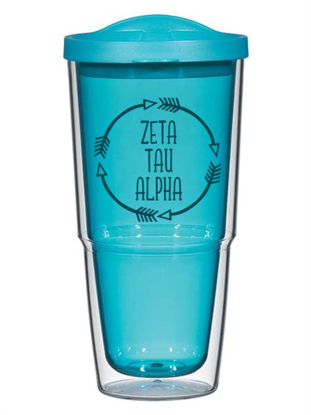 Zeta Tau Alpha Circle Arrows 24 oz Tumbler with Lid