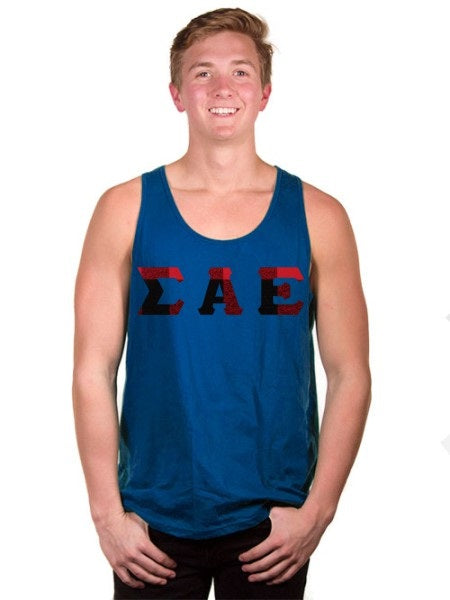 Sigma Alpha Epsilon Lettered Tank Top with Sewn-On Letters