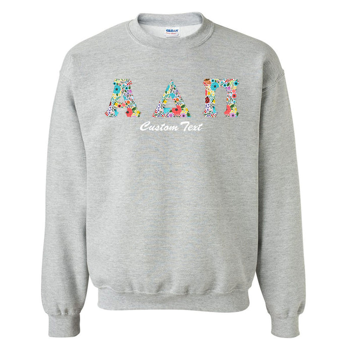 Alpha Delta Pi Crewneck Letters Sweatshirt with Custom Embroidery