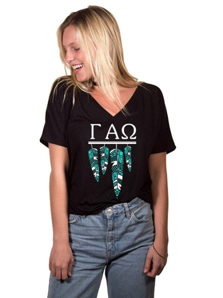 Gamma Alpha Omega Tribal Feathers Slouchy V-neck Tee