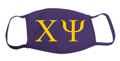 Chi Psi Face Mask With Big Greek Letters