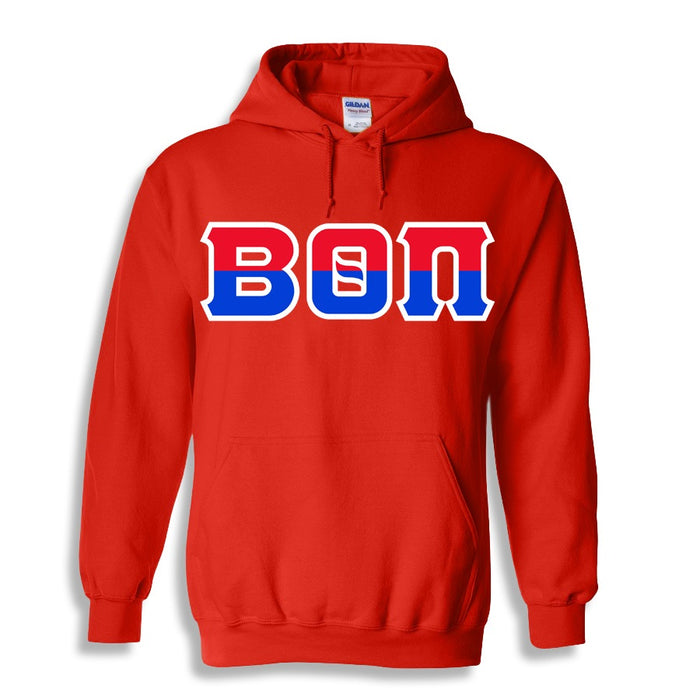 Beta Theta Pi Two Toned Lettered Hooded Sweatshirt
