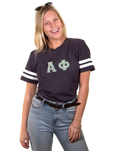 Alpha Phi Unisex Jersey Football Tee with Sewn-On Letters