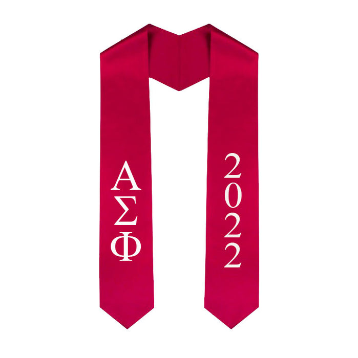 Alpha Sigma Phi Vertical Grad Stole with Letters & Year