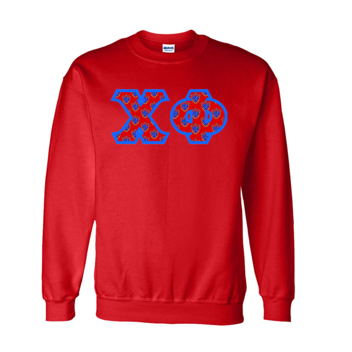 Chi Phi Classic Colors Sewn-On Letter Crewneck