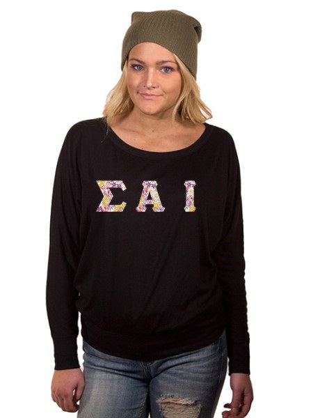 Sigma Alpha Iota Off the Shoulder Flowy Long Sleeve Shirt with Letters
