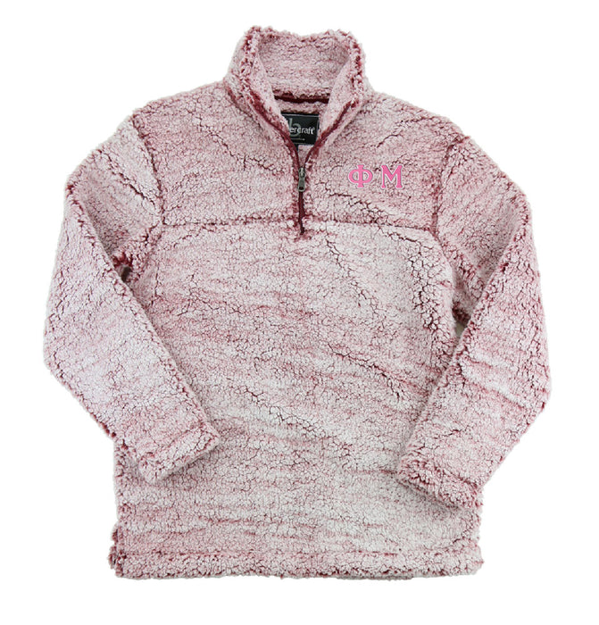 Phi Mu Embroidered Sherpa Quarter Zip Pullover