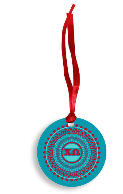 Chi Omega Blue and Red Circle Pattern Sunburst Ornament