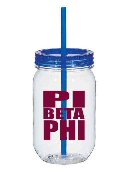 Pi Beta Phi Big Stacked Greek 25oz Mason Jar