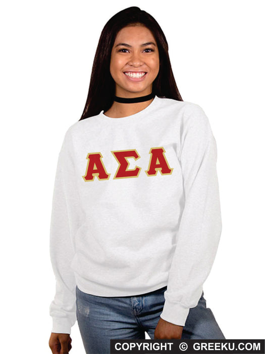Alpha Sigma Alpha Classic Colors Sewn-On Letter Crewneck
