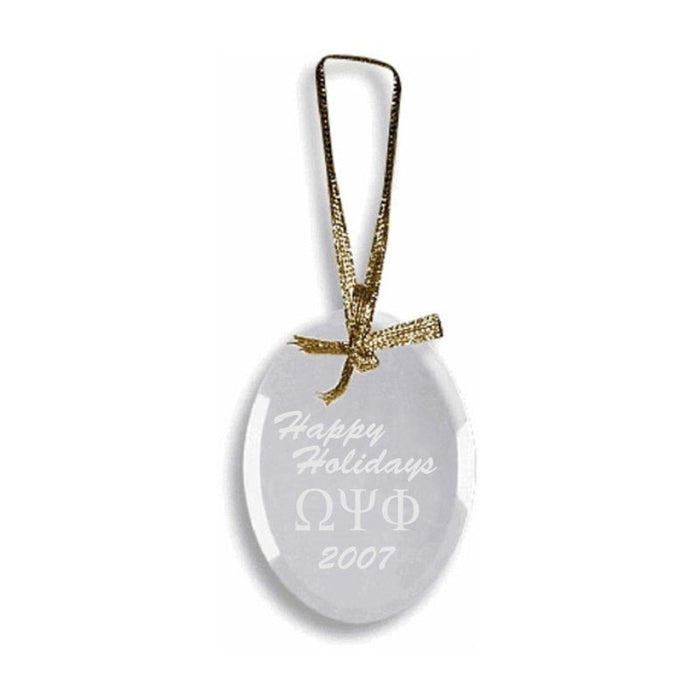 Omega Psi Phi Engraved Glass Ornament