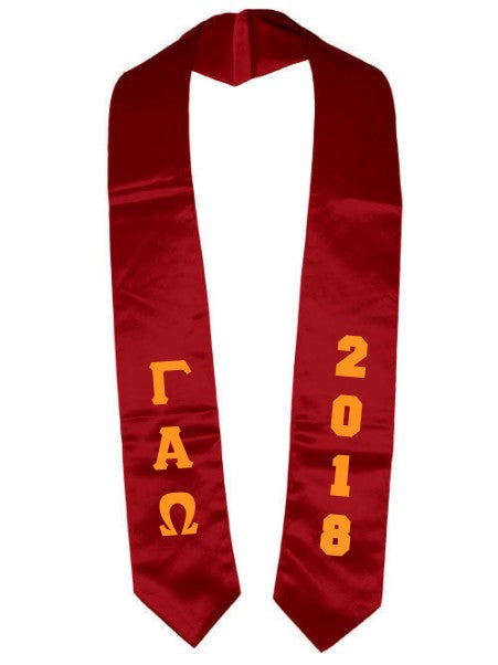 Gamma Alpha Omega Vertical Grad Stole with Letters & Year
