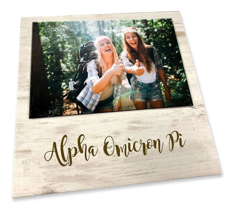 Alpha Omicron Pi Script Wood Picture Frame