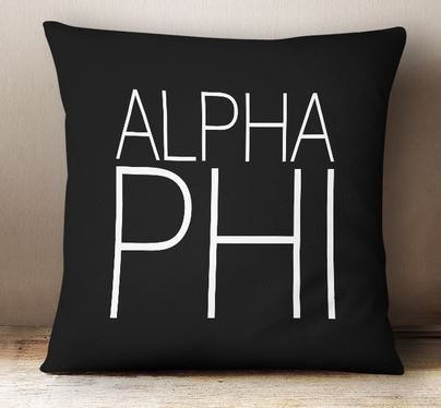 Alpha Phi Simple Text Throw Pillow