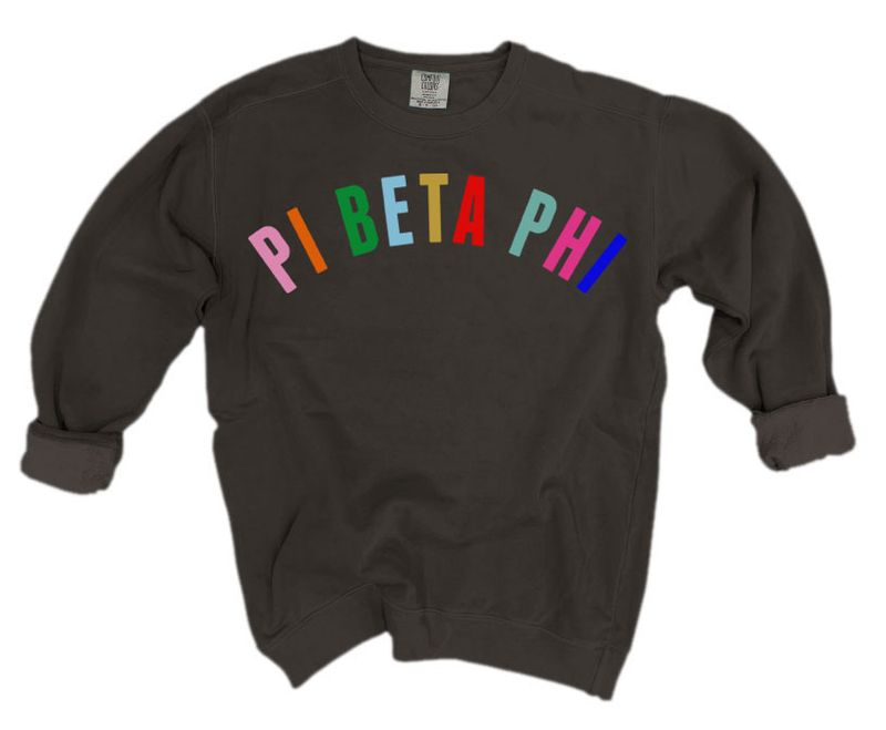 Pi Beta Phi Comfort Colors Over the Rainbow Sorority Sweatshirt