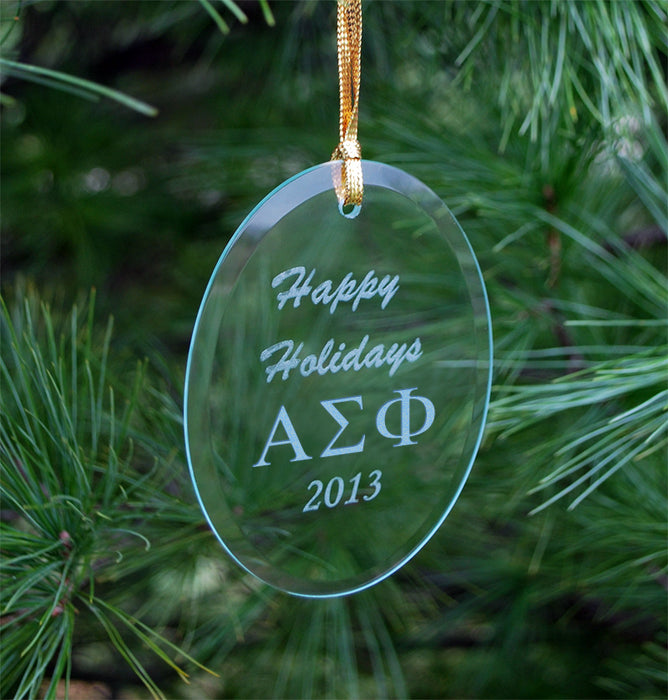 Alpha Sigma Phi Engraved Glass Ornament