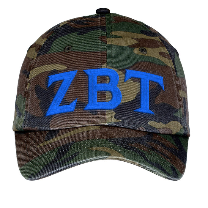 Zeta Beta Tau Letters Embroidered Camouflage Hat