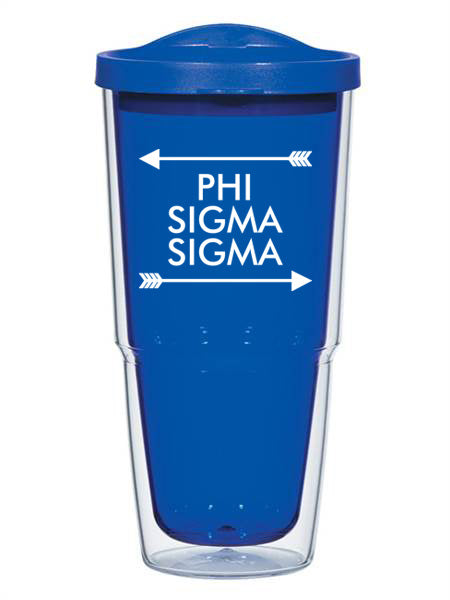 Phi Sigma Sigma Arrow Top Bottom 24oz Tumbler with Lid