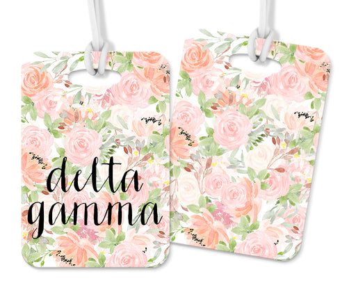 Delta Gamma Pink Floral Luggage Tag