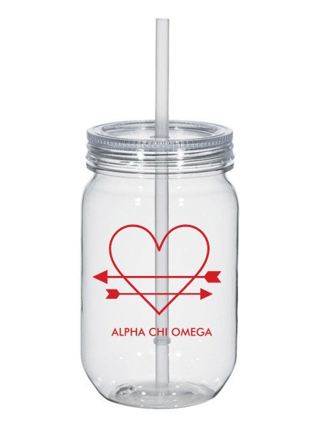 Alpha Chi Omega Heart Arrows Name 25oz Mason Jar