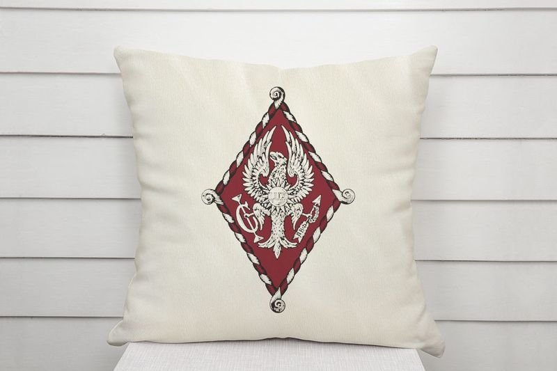 Pi Beta Phi Linen Shield Throw Pillow