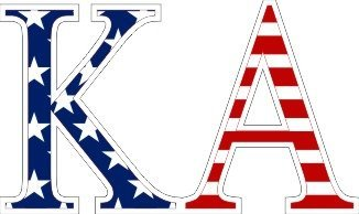 Kappa Alpha American Flag Letter Sticker - 2.5