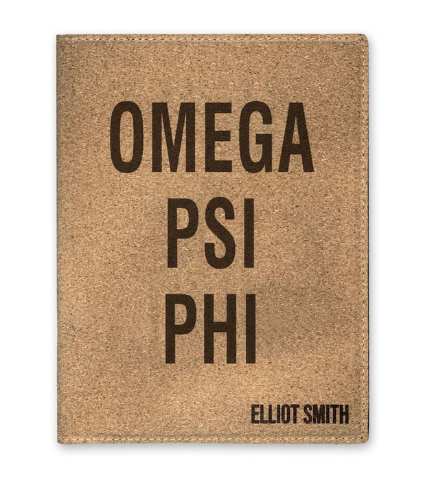 Omega Psi Phi Cork Portfolio with Notepad