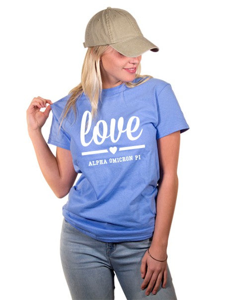 Alpha Omicron Pi Love Crewneck T-Shirt