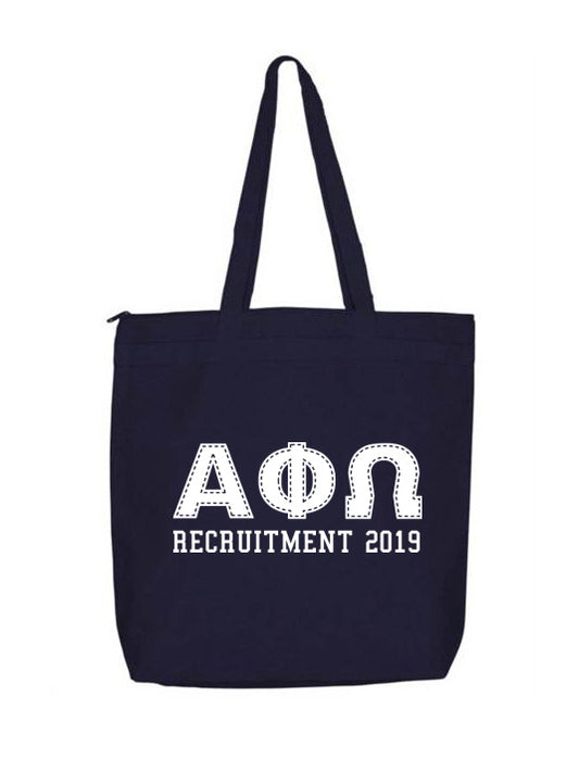 Alpha Phi Omega Collegiate Letters Event Tote Bag