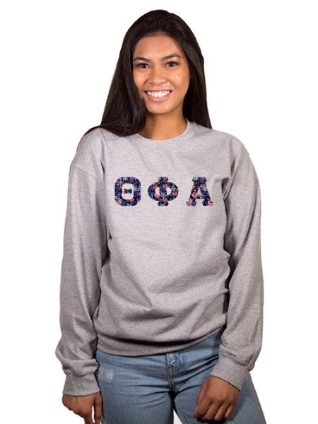 Theta Phi Alpha Crewneck Sweatshirt with Sewn-On Letters
