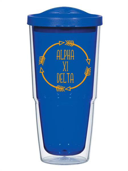 Alpha Xi Delta Circle Arrows 24 oz Tumbler with Lid