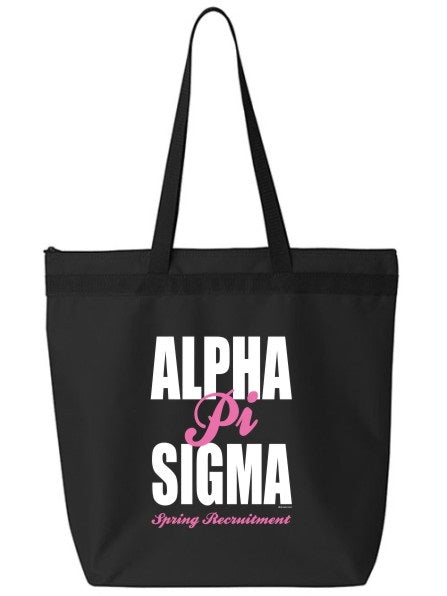 Alpha Pi Sigma Cursive Impact Zippered Poly Tote