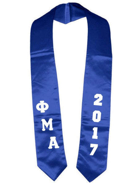 Phi Mu Alpha Slanted Grad Stole with Letters & Year