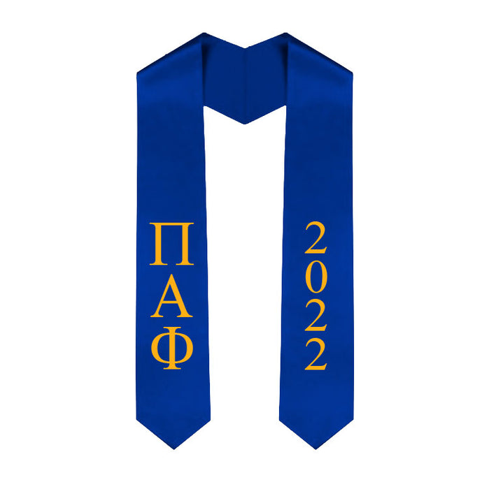 Pi Alpha Phi Vertical Grad Stole with Letters & Year
