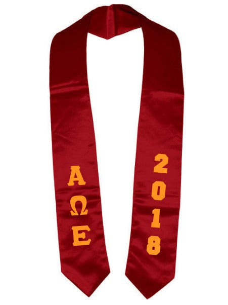 Alpha Omega Epsilon Vertical Grad Stole with Letters & Year