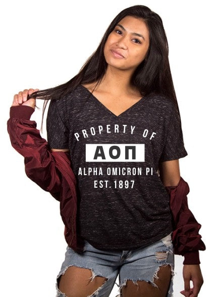 Alpha Omicron Pi Property of Slouchy V-Neck Tee